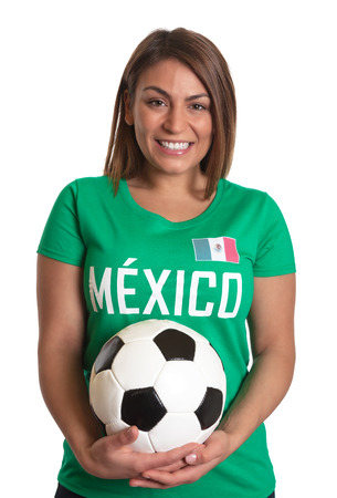 freaking: Laughing mexican girl with football