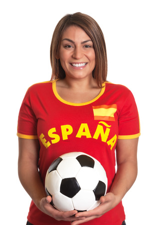 Laughing spanish girl with football  Stock Photo
