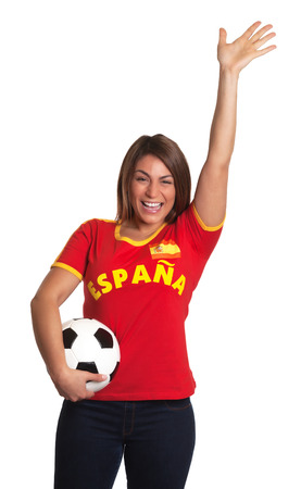 freak out: Cheering spanish girl with football  Stock Photo