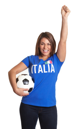 Cheering italian girl photo