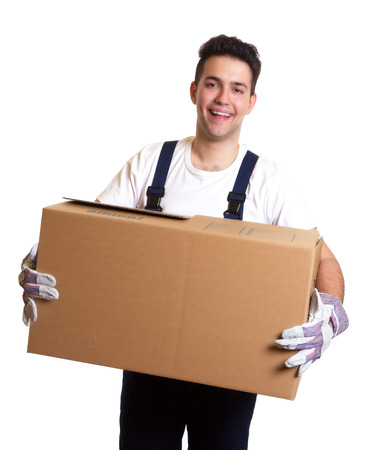 Laughing worker with a box in his hands photo