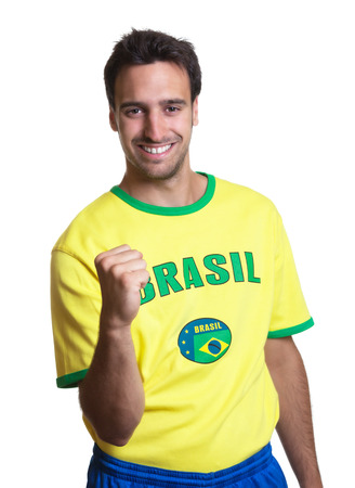 Cheering guy with brazilian jersey  photo