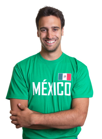 Laughing guy in a mexican jersey with crossed arms photo