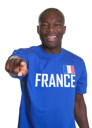 French sports fan pointing at camera photo