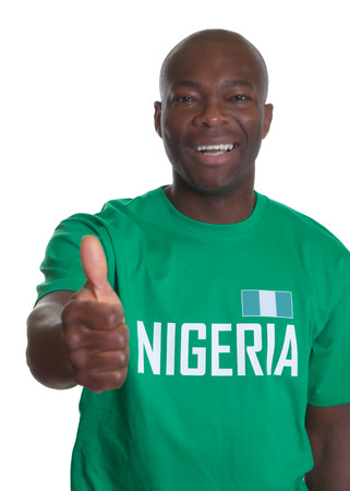 nigeria: Sports fan from Nigeria showing thumb up