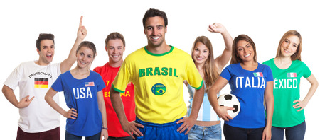 Sports fan from Brazil with fans from other countries photo