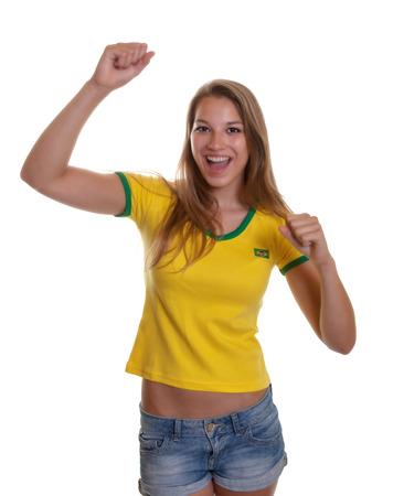 Jubeln Frau in einem brasilianischen Shirt Standard-Bild - 27733574