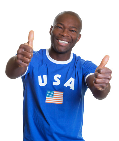 Laughing guy from USA showing both thumbs up photo