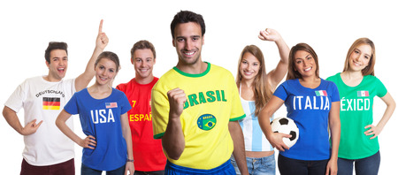 Laughing sports fan from Brazil with fans from other countries photo