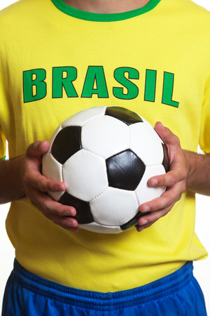 Brazilian soccer jersey with football photo