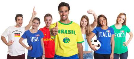 Sports Fan from Brazil showing thumb up with other fans photo