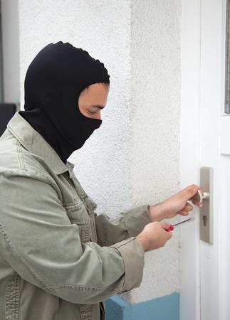 prowler: Burglar at a private home Stock Photo