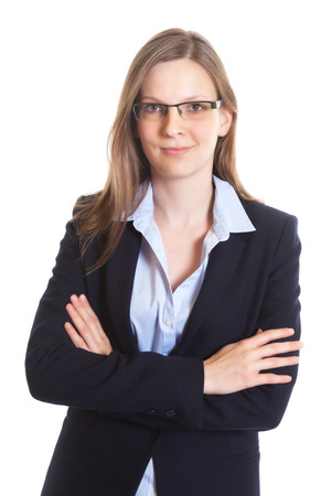 Smiling businesswoman with glasses crossed arms photo