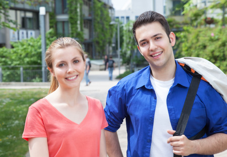 Portrait of two students on campus photo