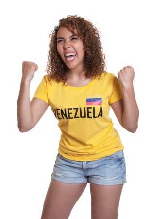Cheering young woman from Venezuela  photo