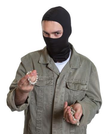 prowler: Masked burglar with jewelry