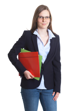 Businesswoman with glasses and documents in her hands photo