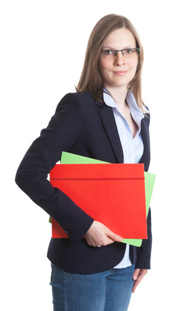 Businesswoman with glasses and colorful documents photo