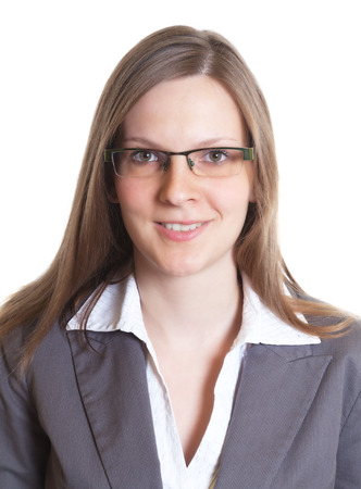 Portrait of a saleswoman with eyeglasses in a grey jacket photo