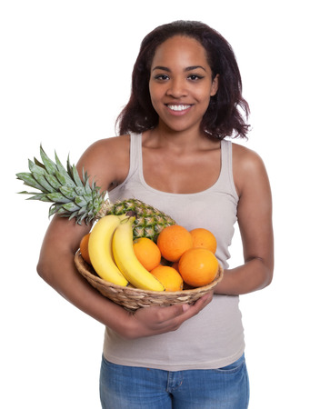 African woman holding a basket of fruits