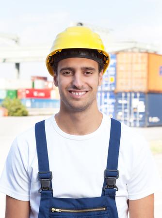 docker: Portrait of a laughing docker Stock Photo