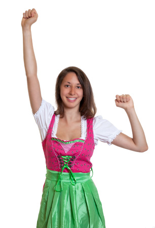 Cheering woman with brown hair from Bavaria photo