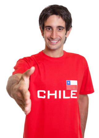 Happy fan from Chile reaching hand photo