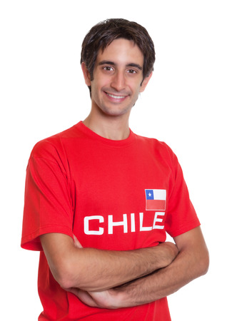 Laughing fan from Chile with crossed arms photo