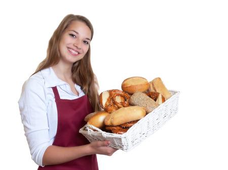 Lachende blonde vrouw van de bakker