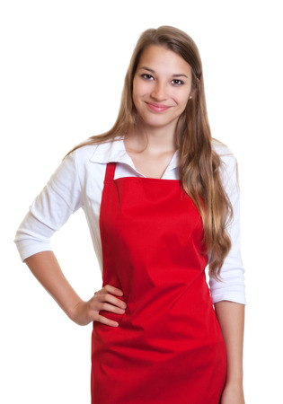 salesgirl: Smiling waitress with red apron Stock Photo