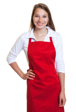 Laughing waitress with red apron Standard-Bild