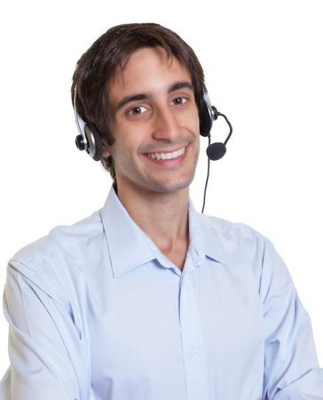 Lachen Spaanse operator met headset Stockfoto