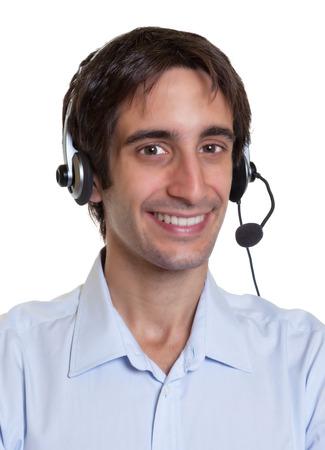 Portret van een Spaanse operator met headset