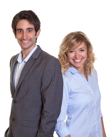 Latin business team laughing at camera photo
