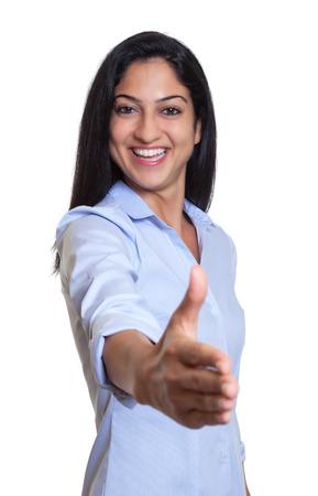 Modern turkish businesswoman reaching hand photo