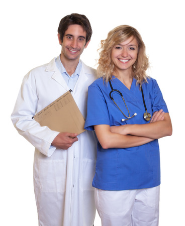 Laughing doctor and nurse photo