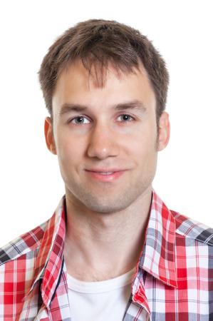 Portret van een Duitse man in een geruit overhemd