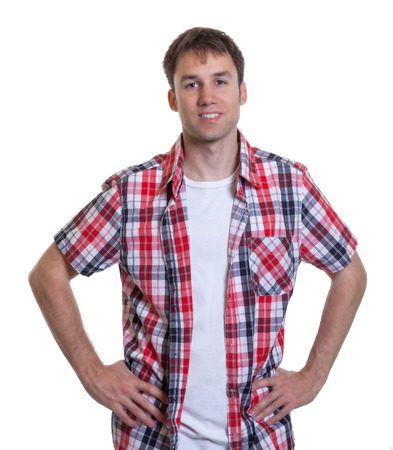 Standing german guy in a checked shirt photo