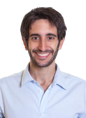 foto carnet: Retrato de un hombre latino riendo con barba