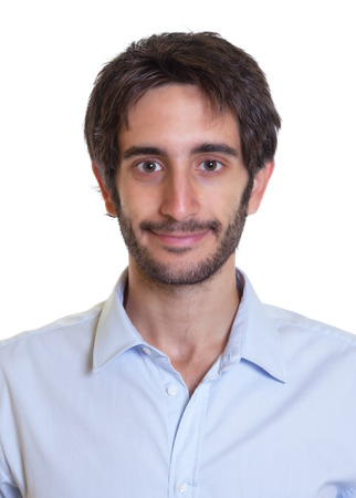 Portrait of a smiling latin guy with beard