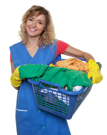 dirty blond: Housewife with blond hair and a basket of dirty clothes