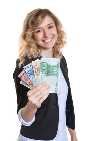 blond hair: Woman with blond hair money Stock Photo