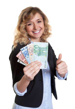 blond hair: Woman with blond hair showing money and thumb
