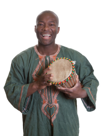 traditional culture: African musician with traditional clothes and drums Stock Photo