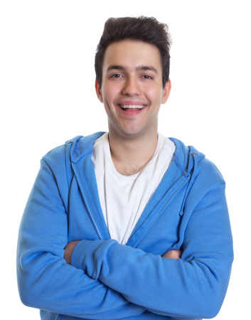 hoody: Laughing hispanic guy in a blue hoody