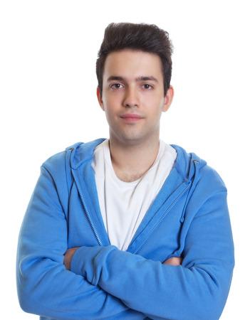 hoody: Улыбаясь испанская парень в синем капюшоном