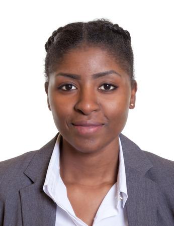 Paspoort foto van een glimlachende Afrikaanse zakenvrouw Stockfoto