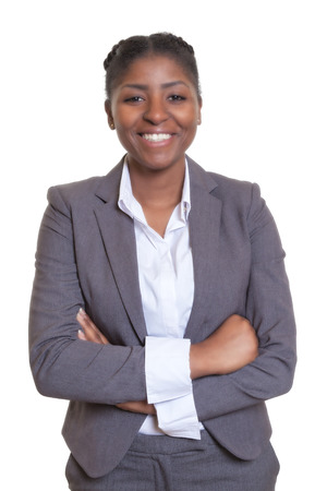 woman white background: Laughing african businesswoman