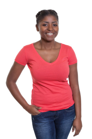 latina america: Standing african american woman in a red shirt