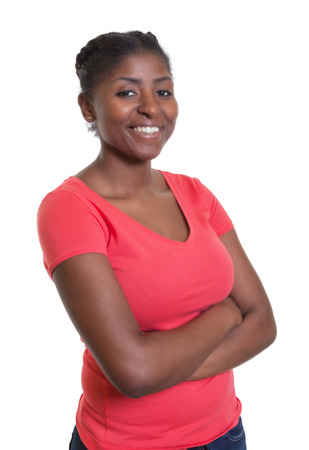black women hair: Flirting african american woman in a red shirt Stock Photo